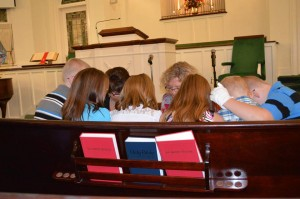 Wytheville Baptist's SonShine Singers praying before the CHildren's Sunday program began on September 28, 2014.